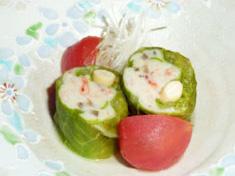 宇土四季料理 新心風 大豆と桜エビのロールキャベツ(塩とまとすーぷ煮)
